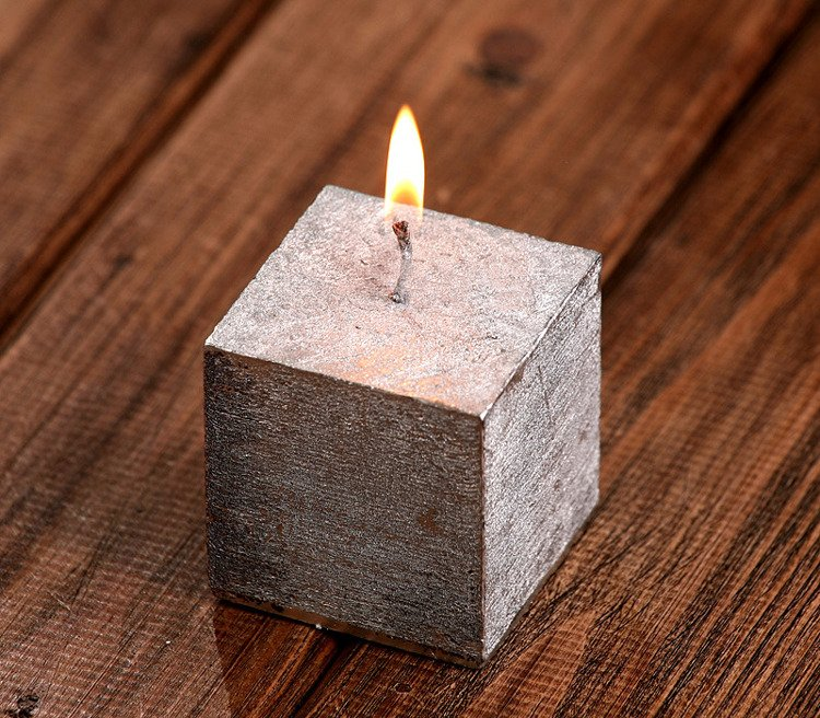 Rustic candle cube 50/50mm silver
