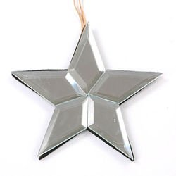 Set of 2 mirror star hanger 12 cm