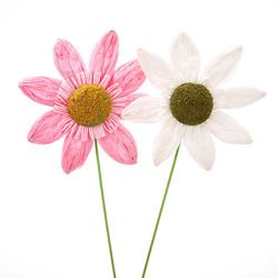 Set of 4 paper sunflowers, white-pink