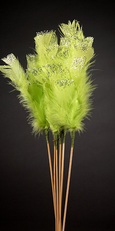 Set of 6 glittered green feathers on sticks  34cm