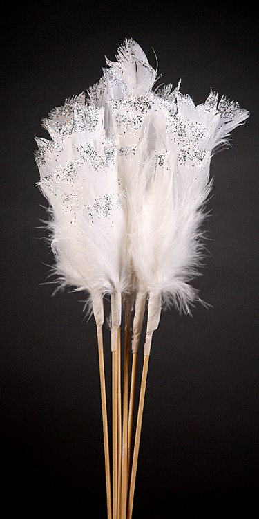 Set of 6 silver glittered white feathers on sticks  34cm