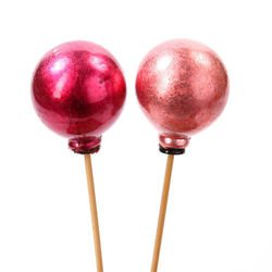 Set of balls on woody sticks, 4,5 cm, pink and rose-pink, 6 pcs/pkg