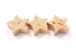 Set of candles in shape of stars, gold, 3 pcs. 4/3,5 cm