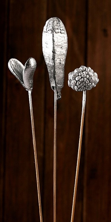 Set of plants on stick- silver