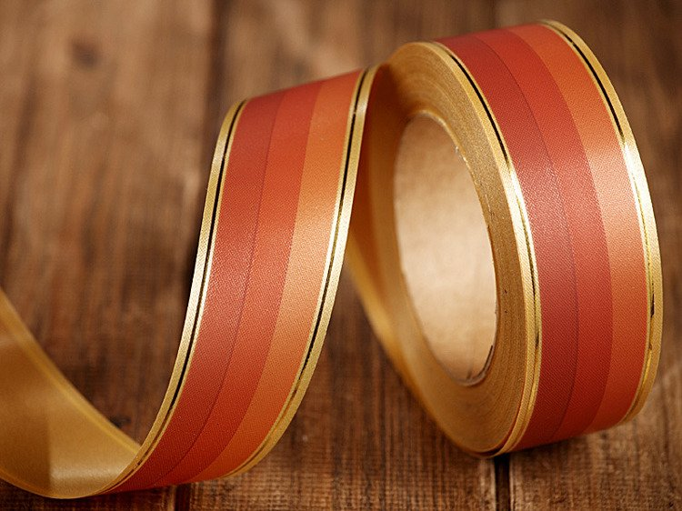 Tinged band with gold strip 4cm/45m brown