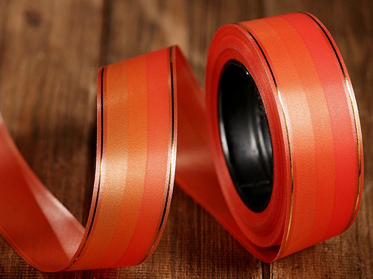 Tinged band with gold strip 4cm/45m orange