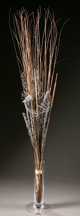 Tuft of natural grass with silver elements, 40-50cm