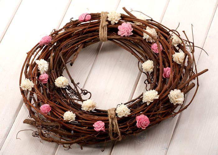 Vine wreath with sola flowers- pink-white