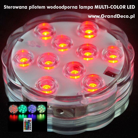 "Waterproof lamp MULTI-COLOR LED 7cm (2.75"") battery controlled + PILOT"