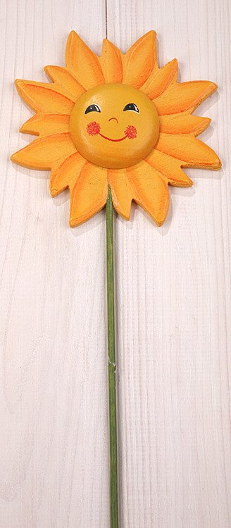 Wooden sunflower on stick - yellow