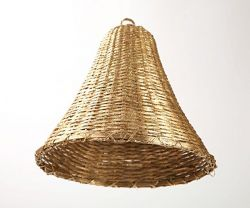 Woven Buri bell, gold, glittered, small, 8 cm