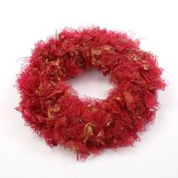Wreath of feather claret-gold 25cm