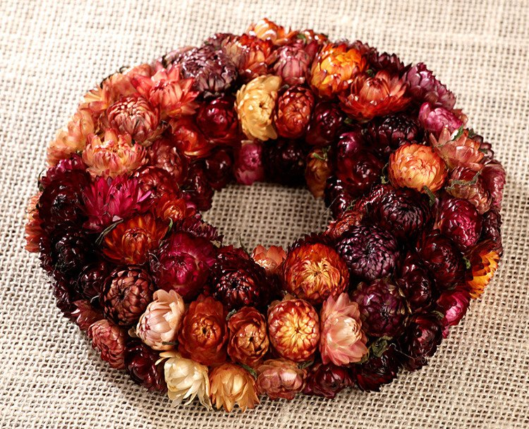 Wreath - sunny arrangement of dried flowers ca. 20-25 cm