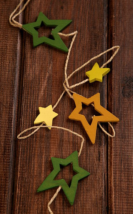 Yellow&green garland of 12 stars on string 180cm