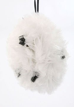 big, fluffy ball, 20 cm, white-grey