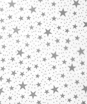 Folia (celofan) 50 x 70 cm z nadrukiem gwiazdki 50 arkuszy/op. - srebrne