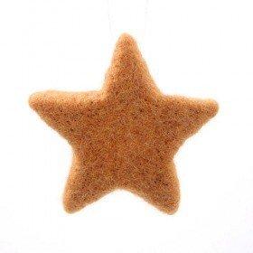 Komplet zawieszek filcowych gwiazdek brązowych  8 cm ,4 szt/op