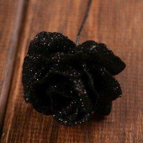 Róża brokatowana na piku  4/14 cm  czarna