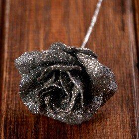 Róża brokatowana na piku  4/14 cm  srebrna