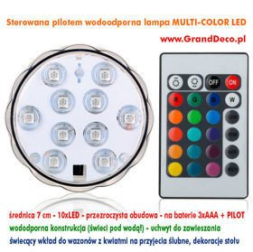 Wodoodporna lampa MULTI-COLOR LED 7 cm na baterie + PILOT