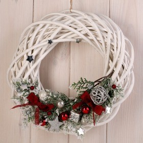 Wreath- white wicker with silver supplements