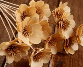 A bouquet of wooden flowers - a natural product of 40-45 cm