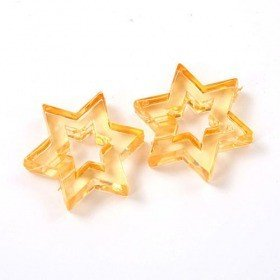 Acrylic orange open stars ca. 16 pcs - 50 g, 3 cm