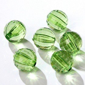 Acrylic round diamonds with slot 24pcs/pkg green