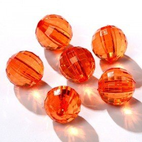 Acrylic round diamonds with slot 24pcs/pkg orange