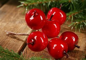 Apples on a wire, Christmas decoration