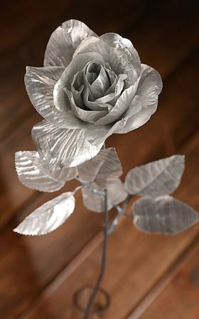 Artificial flower ROSE SILVER 9/50 CM