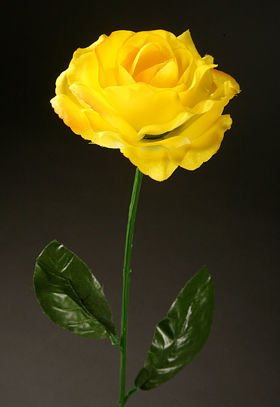 Artificial flower Rose on a branch - yellow