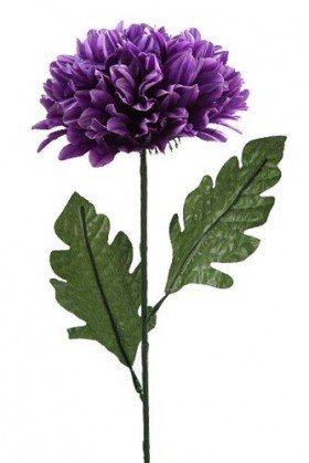 Artificial flower, single chrysanthemum 16 / 40cm - purple