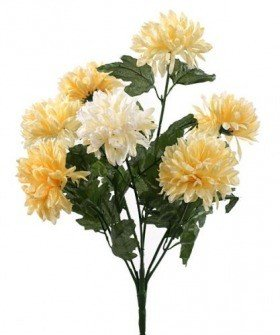 Artificial flowers, chrysanthemums bouquet of 7 cream flowers