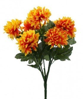 Artificial flowers, chrysanthemums bouquet of 7 dark yellow flowers