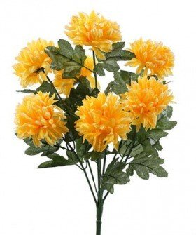 Artificial flowers, chrysanthemums bouquet of 7 light yellow flowers