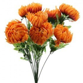 Artificial flowers, chrysanthemums bouquet of 9 orange flowers