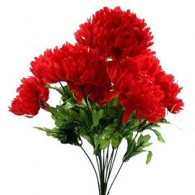 Artificial flowers, chrysanthemums bouquet of 9 red flowers