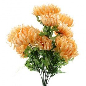 Artificial flowers, chrysanthemums bouquet of 9 yellow-orange flowers