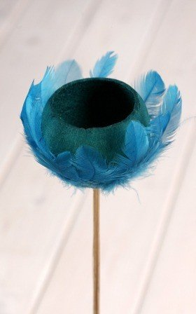 Bell cup on stick with feathers, blue