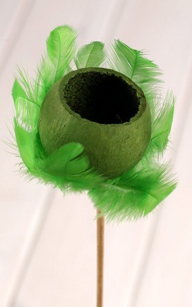 Bell cup on stick with feathers -green