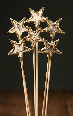 Birch stars on stick, 6 pcs/pkg, gold