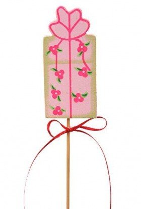 Birthday gift on stick, wooden, pink