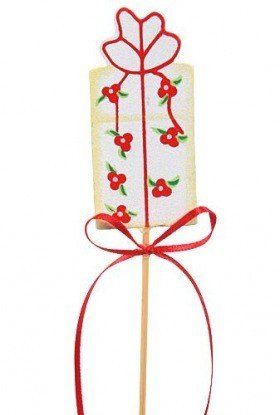 Birthday gift on stick, wooden, white