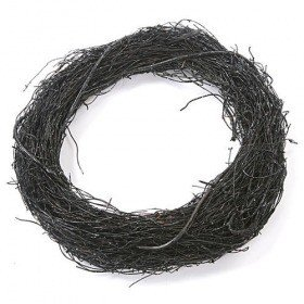 Black wreath with glitter, 27 cm