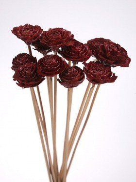 Bouquet of 12 Cedar Wood Roses Floral Picks Claret