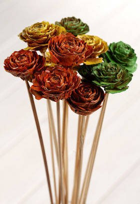 Bouquet of 6 Cedar Roses Green-Yellow-Orange