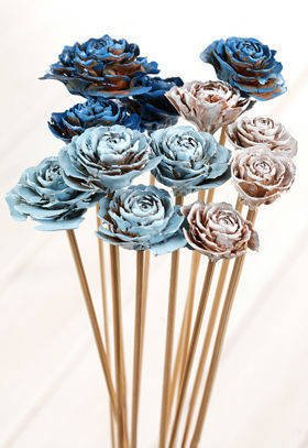 Bouquet of 6 Cedar Roses White-Blue