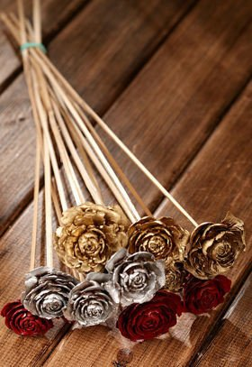 Bouquet of 6 Cedar Roses claret-gold-white