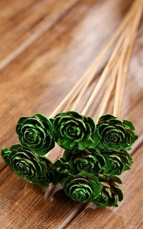 Bouquet of 6 Cedar Wood Roses Floral Picks Green